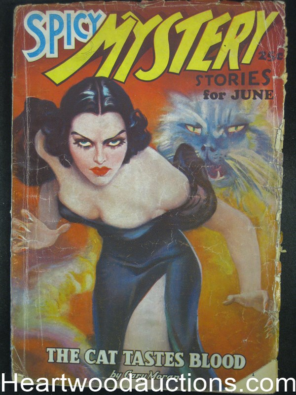 Spicy Mystery Jun 1936 cover: menacing catwoman and snarling cat amidst  smoke