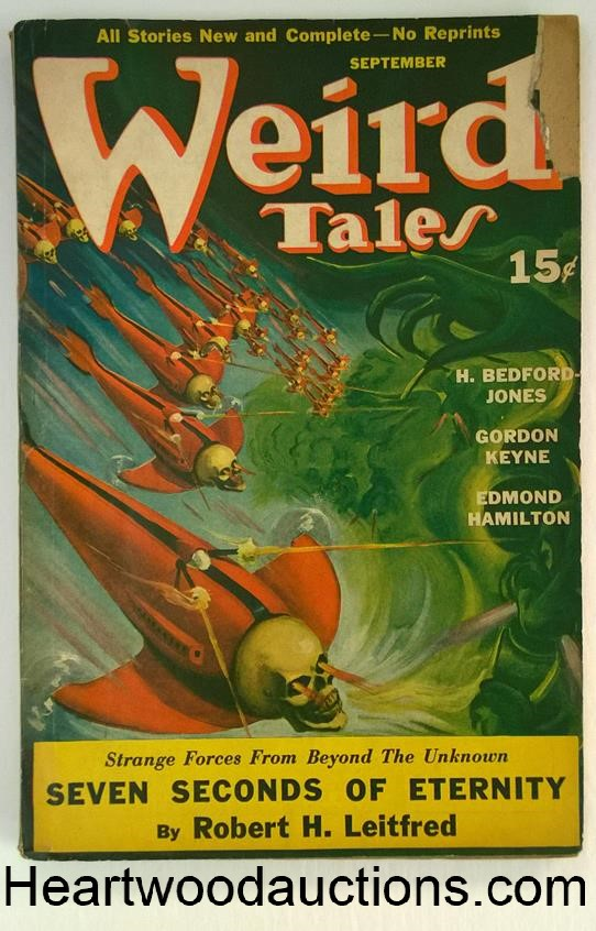 Weird Tales Sep 1940 Wild Flying Skulls Cvr by Quigly, Bond, HB Jones