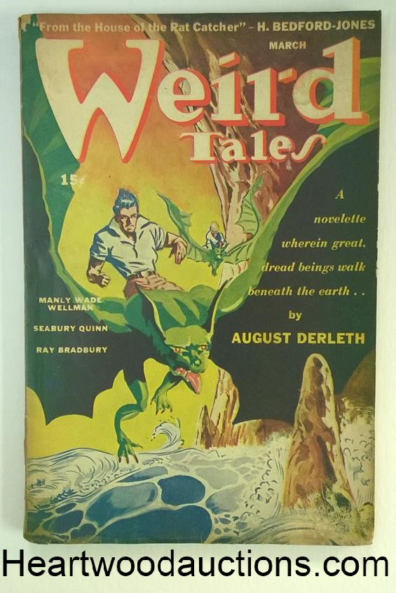 Weird Tales Mar 1944 Ray Bradbury, Derleth- trail of Cthulhu, Quinn, Wellman, Long,
