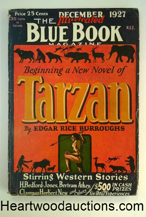 Blue Book Dec 1927  Tarzan First Burroughs'-themed cover