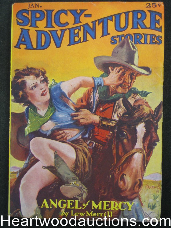 Spicy Adventure Jan 1936 Wild Parkhurst good girl art cover - Ultra High Grade