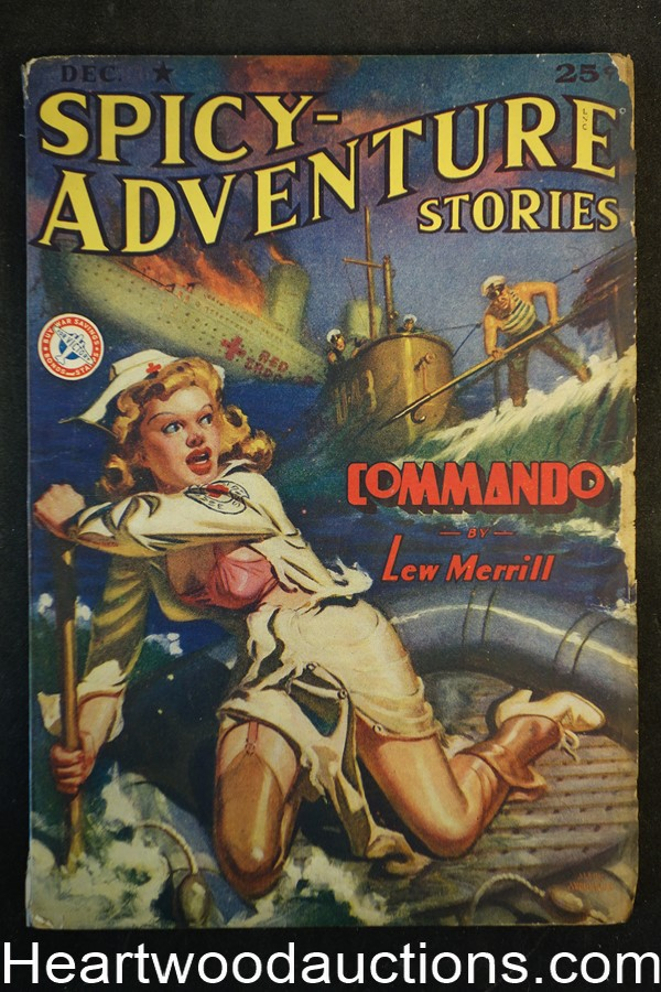 Spicy Adventure Dec 1942 Final issue -- Allen Anderson cover, GGA, Lew Merrill