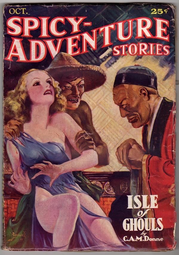 Spicy Adventure Oct 1935 Parkhurst GGA Oriental menace cover Robert Leslie Bellem