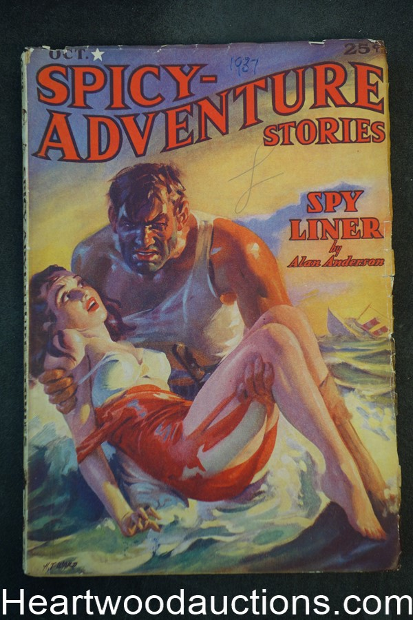 Spicy Adventure Oct 1937 H.J. Ward GGA, Alan Anderson, Robert Leslie Bellem