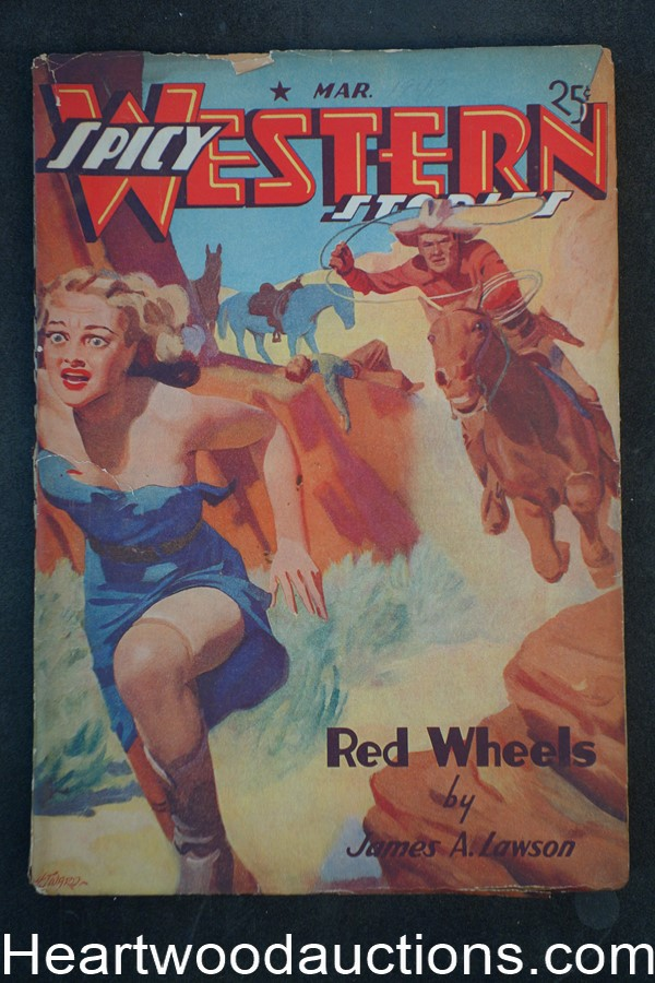 Spicy Western Mar 1940 H.J. Ward GGA cover E. Hoffman Price, Laurence Donovan