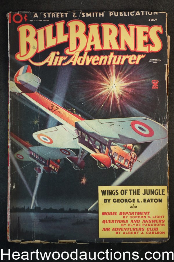 Bill Barnes Air Adventurer Jul 1935 World War I Airplanes pulp art