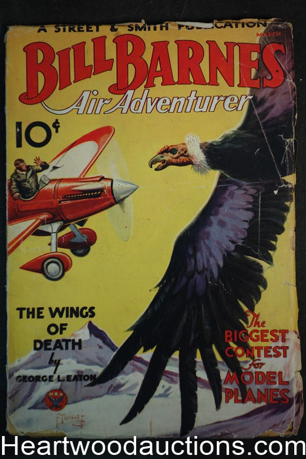 Bill Barnes Air Adventurer Mar 1934 Frank Tinsley  Sci-Fi cover. Giant Condor attacks plane