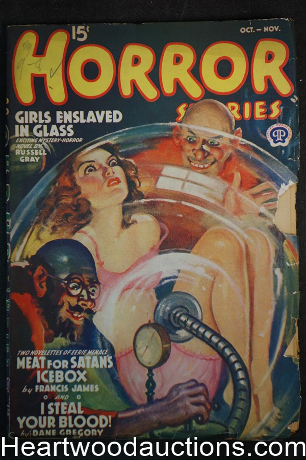 Horror Stories Oct-Nov 1939 GGA torture cover, Ray Cummings, Russell Gray