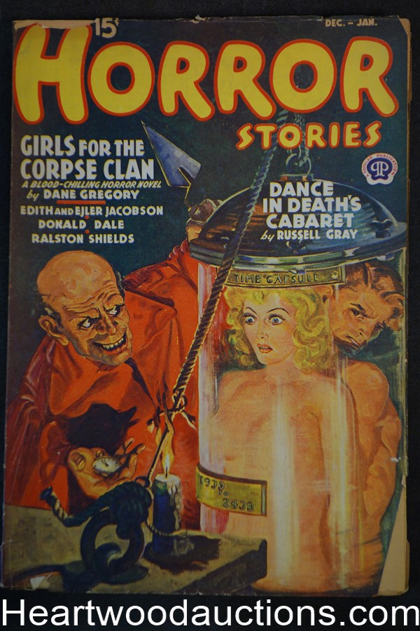 Horror Stories Dec-Jan 1939 Good Girl art Bondage, time capsule cover