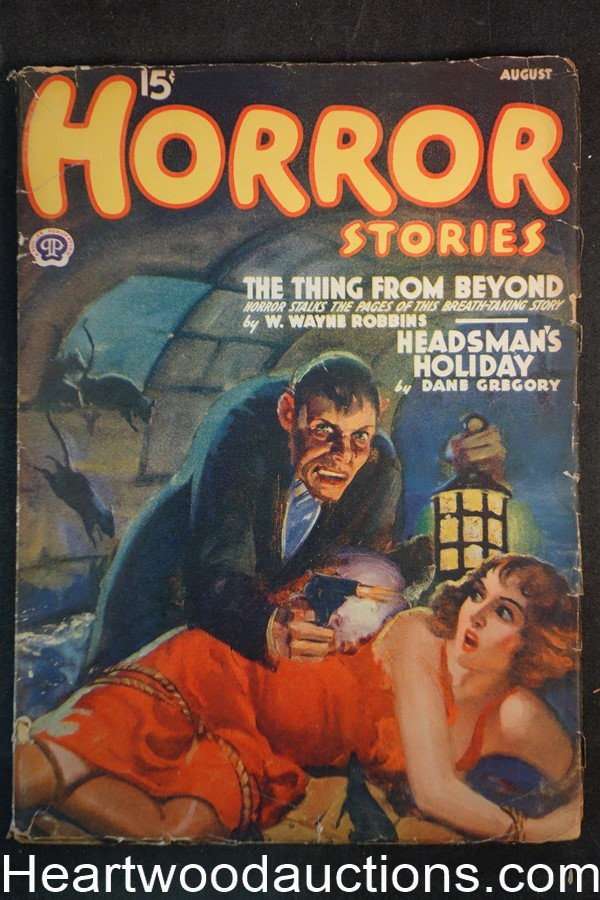 Horror Stories Aug 1940 Bondage cvr, Wayne Rogers, Frances Bragg Middleton