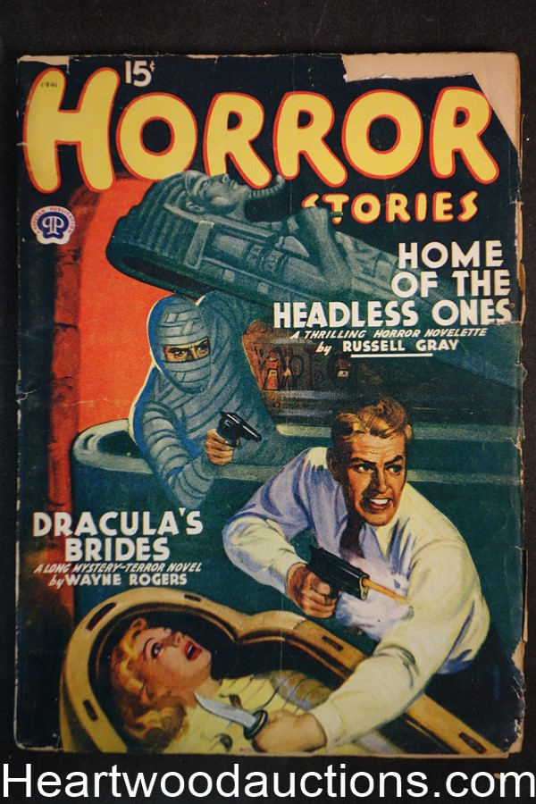 Horror Stories Feb 1941 Mummy cvr Ray Cummings, Wayne Rogers, G.T. Fleming-Roberts
