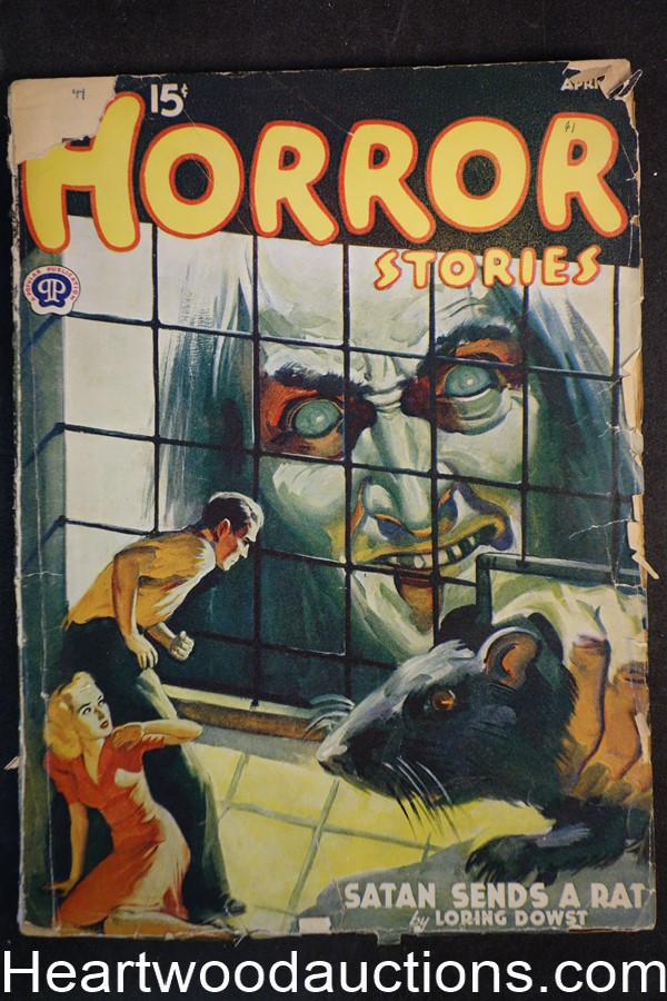 Horror Stories Apr 1941 GGA shrunken woman cover, Ray Cummings, Ray Cummings