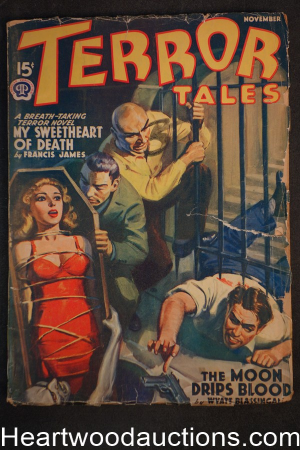 Terror Tales Nov 1940 GGA Bondage Torture cover, Wyatt Blassingame, Ray Cummings