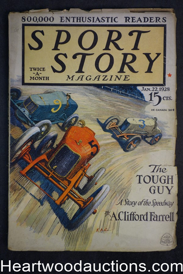 Sport Story Magazine Jan 22, 1928 Car racing Cvr, Kingsley Moses