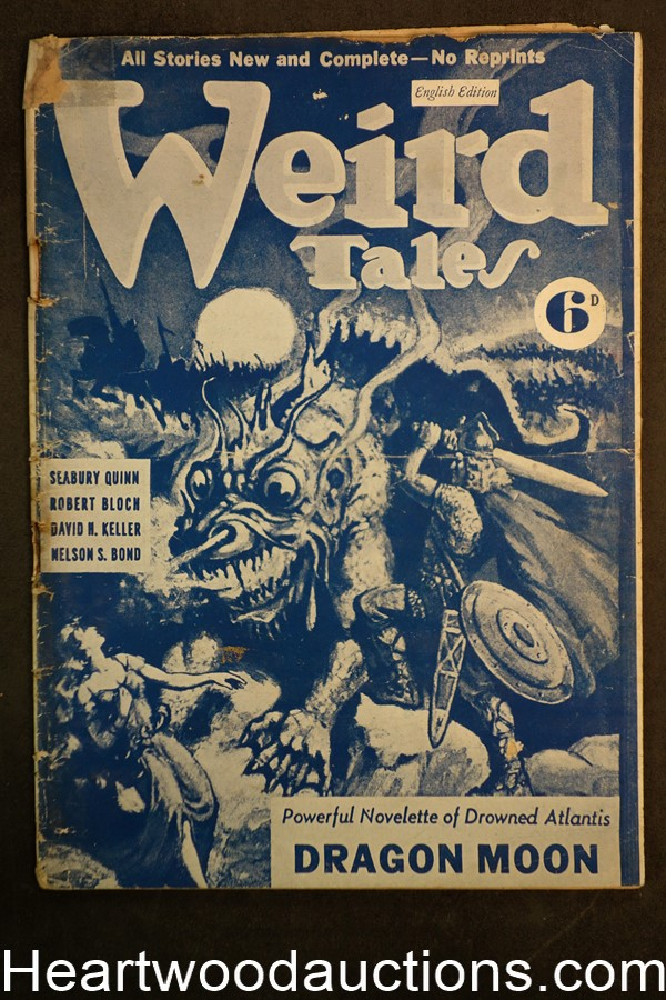 Weird Tales (British) Mar 1942 David H. Keller, Robert Bloch, Seabury Quinn