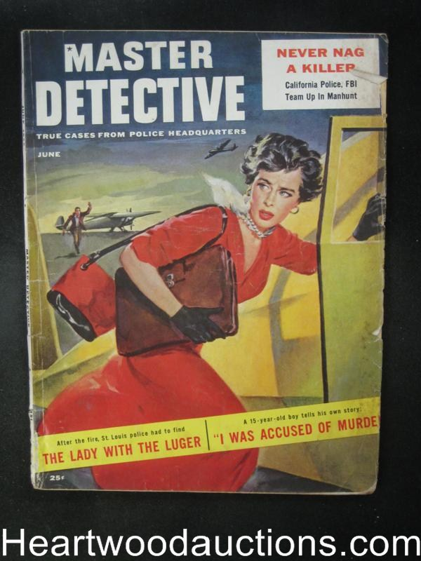 Master Detective June 1956  Lady with the Luger