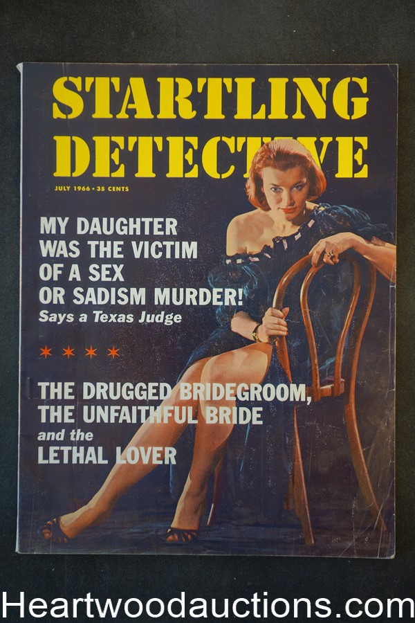 Startling Detective Jul 1966 Strangled With Her Own Bra