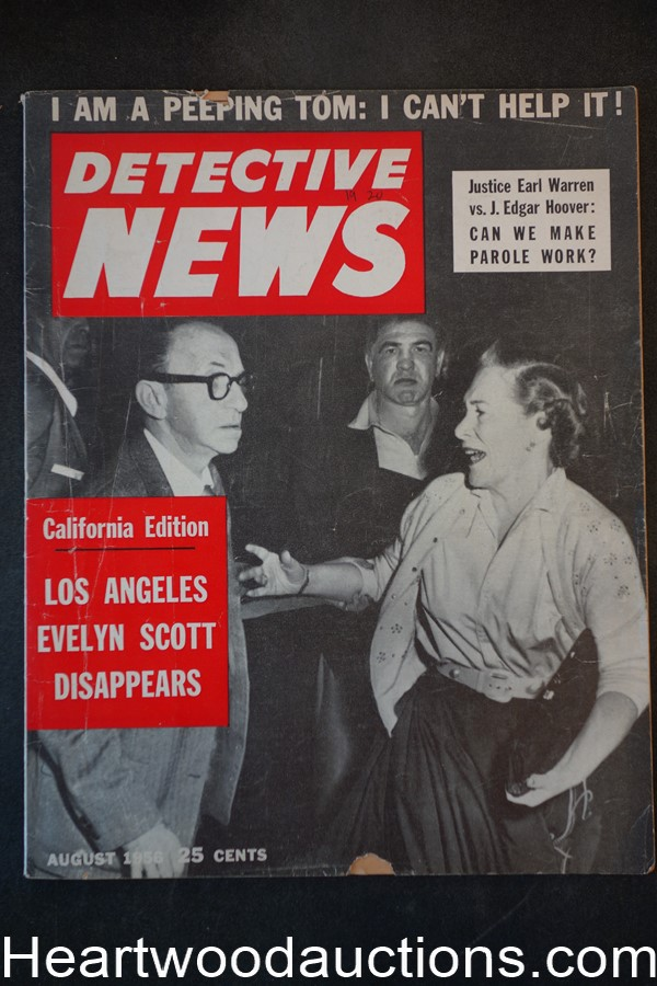 Detective News Aug 1956 Distraught Mrs. Carl Eaton cover, Evelyn Scott Disappears
