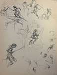 Roy G. Krenkel Original Art -  Page of Tarzan Studies in ink and pencil, John Carter 9 x 11-1/2
