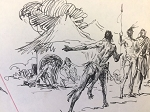 Roy G. Krenkel Original Art  -Tarzan and Native Encampment - Two drawings/ one page,  pen and ink 1960s