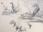 Original Art by Roy G. Krenkel - Large Page of Dinosaur Studies, In Pencil, Initialed RGK 13 x 11