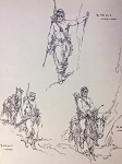 Roy G. Krenkel Original Art -  Haxtur & Mathai-Dor ballpoint illustration with notes in artist's hand 8-1/2