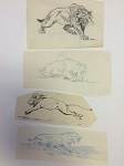 Roy G. Krenkel Original Art -   Four Felines - ink and pencil '60s and '70s,  one initialed