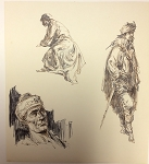 Original Roy G. Krenkel Art  Pirate Study with Three Figures
