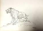 Original Roy G. Krenkel Art Sabretooth in Pencil Signed RGK 9