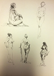 Original Art by Roy G. Krenkel Small Page of Nude Figures Pen and Ink
