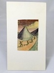Hannes Bok Original Art  - Exceptional 1931 Pencil and Watercolor scene, four figures in a landscape - full of movement and subtlety