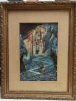 Lois Rogers Mixed Media ART PRINT Relief Artwork CASTLE Fantasy Art