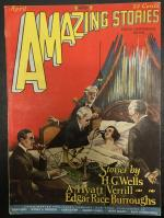 Amazing Stories Apr 1927 Burroughs; HG Wells; Poe; Paul Cover Art