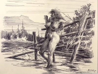 Roy G. Krenkel Original Art  -  'Country Girl' black ballpoint initialed late 1970s stunning nude