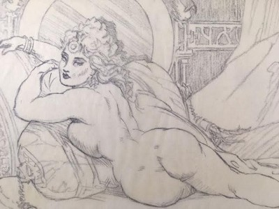 "Roy G. Krenkel Original Art  - Moon of My Desire pencil on tracing paper circa 1950s,  mounted 8-1/2"" x 6"""