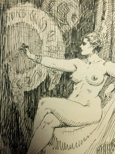 "Roy G. Krenkel Original Art - ca 1950s  'Odalesque #2' in ink 7"" x 9""  Elegant Nude"