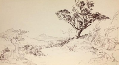 Roy G. Krenkel Original Art  -  'Thinning Out the Herd, wild savanna scene with animals in deep umber pencil, 11-1/2 x 6-1/2