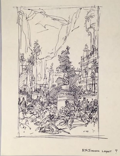 "Roy G. Krenkel Original Art  - ER Edison Layout , iconic city scene in ink, titled 8-1/2"" x 11"""