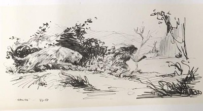 "Roy G. Krenkel Original Art  -   Opilide, an active, dynamic and finely rendered scene, sabretooth chasing woman - ink, 8-1/2"" x 4-1/4"""