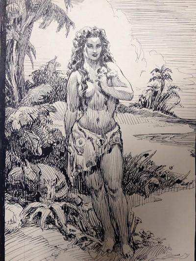 Roy G. Krenkel Original Art  -  Jungle Girl - A Beautiful Polynesian-inspired Semi Nude in Ink, 10 x 12""