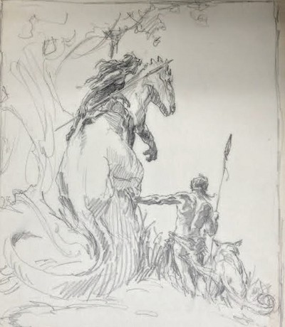 "Roy G. Krenkel Original Art  - Pellucidar-  8-1/2"" x 11""   Evocative, iconic pencil work - simple and powerful"