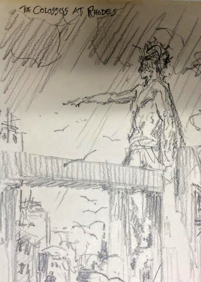 "Roy G. Krenkel Original Art  - Colossus of Rhodes-  8-1/2"" x 11""  Powerful scene with figures, in pencil"