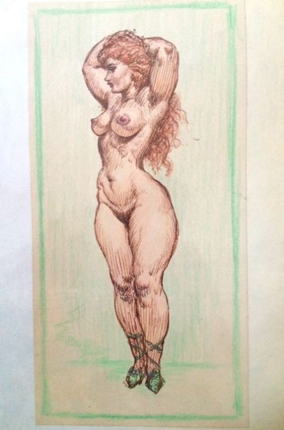 Original Art by Roy G. Krenkel - Nude Siren,  1950s