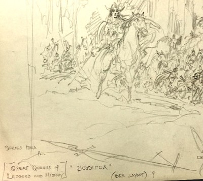 "Signed Original Art -Boudicca ""Great Queens of History and Legend""   by Roy G. Krenkel Two Sided"