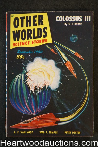 Other Worlds  Sep 1950 Malcolm Smith Cvr, Van Vogt, Ackerman,  - High Grade