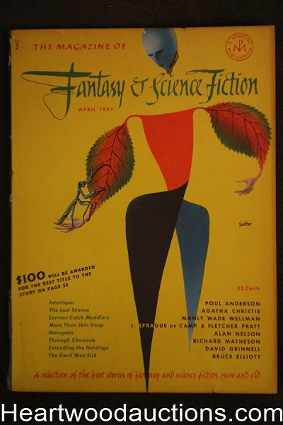 Fantasy and Science Fiction Apr 1951 Matheson, Agatha Christie, de Camp,  Anderson