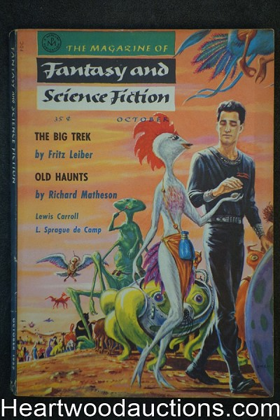 Fantasy and Science Fiction Oct 1957 Emsh Cvr, Richard Matheson, H.P Lovecraft, de Camp