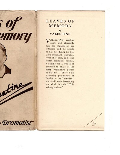 Leaves of Memory by Valentine (First Edition) Ward Lock File Copy