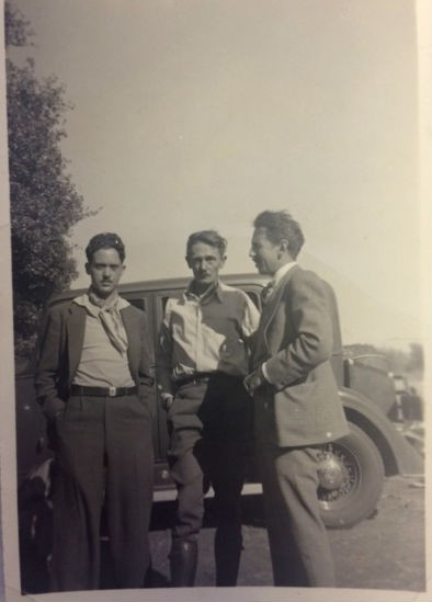 Original vernacular photograph showing Henry Kuttner, Clark Ashton Smith, E. Hoffman Price
