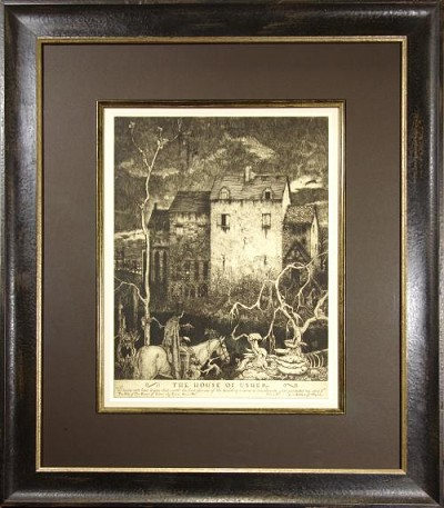 "ORIGINAL ART Etching SIGNED Robert Lawson ""The House of Usher"" EDGAR ALLAN POE"